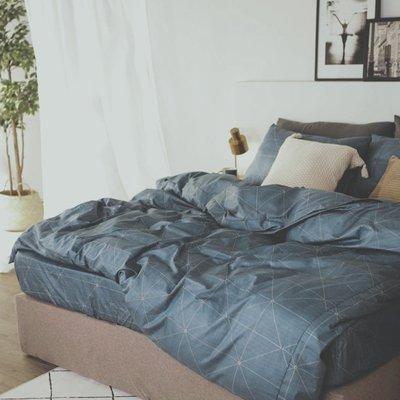 MIT精梳棉-床包薄被套組/雙人【艾維斯-藍】絲薇諾