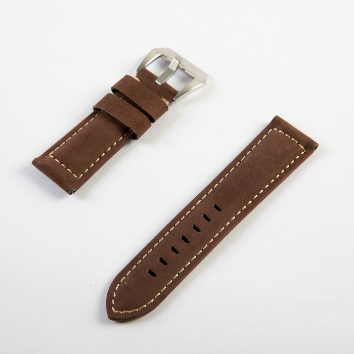牛皮磨砂紋路錶帶 厚款真皮手錶帶 銀扣 24MM 淺棕 FA-37289