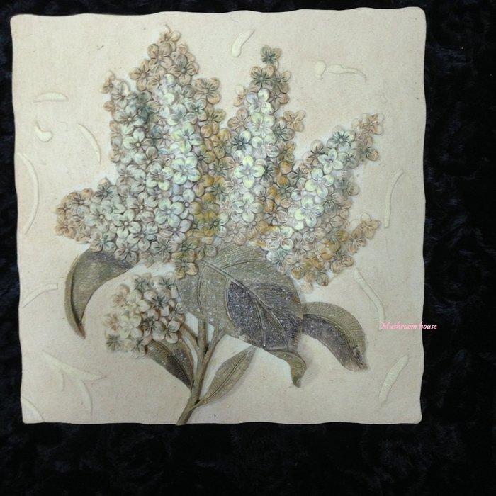 點點蘑菇屋{璧飾}美國 new view復古精緻花卉壁掛畫 繡球花 立體浮雕 掛飾 壁磚
