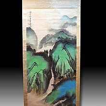 【 金王記拍寶網 】S1607  張大千款 潑彩 山水圖 手繪書畫捲軸一幅 罕見 稀少~