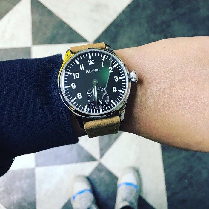 ㊅六樓先生㊅ PARNIS  44mm藍寶石鏡面 手動上鍊 飛行錶 機械錶