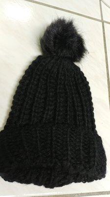 一元起標無底價 全新黑色簡約毛球毛帽毛線帽 現貨 JYUN'S 出清