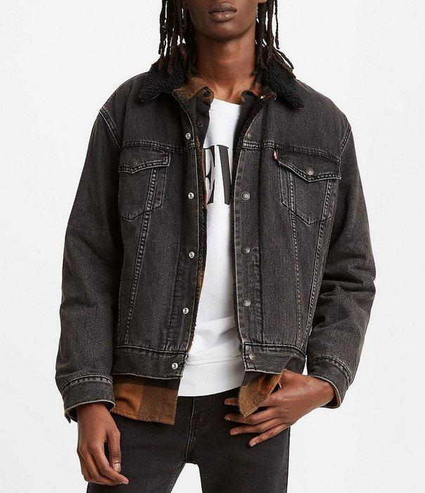 【羊絨裡毛領XS-XXL號】美國LEVI S Sherpa Trucker Jacket 仿舊鐵灰鋪棉袖牛仔外套保暖夾克