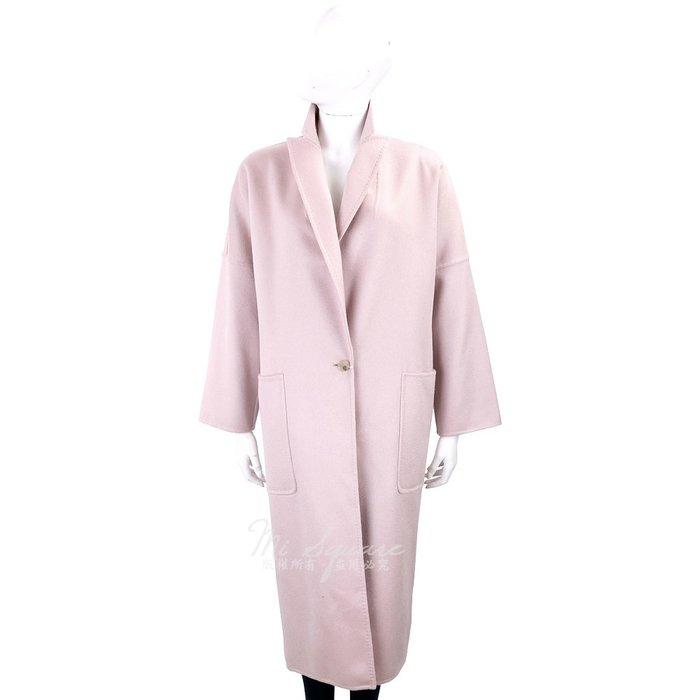 米蘭廣場 Max Mara 腰釦帶設計粉色落地羊絨大衣 1820018-05