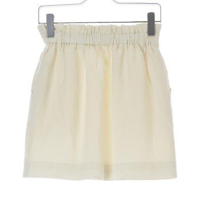 【BE RADIANCE】日本製 米白俐落棉麻短裙口袋抓皺裙雞尾酒裙M