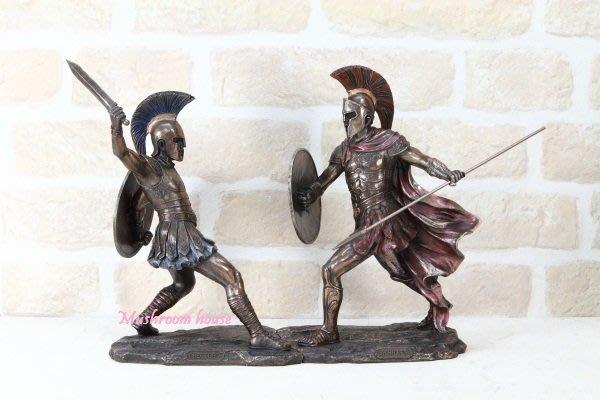 點點蘑菇屋{中古武士擺飾}羅馬藝術雕塑赫克托持劍迎戰阿基里斯 Achilles 特洛伊 鐵甲武士 盔甲 羅馬武士 免運費