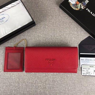 Melia 米莉亞代購 19ss PRADA 皮夾 錢包 長夾 翻蓋款 新款同色LOGO 官網同步 簡約時尚 紅色
