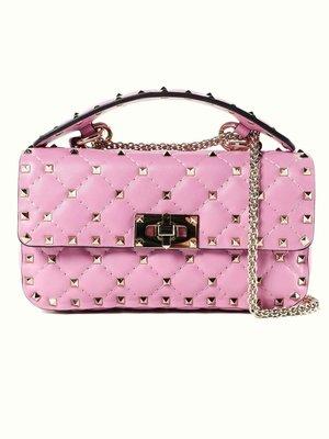 EZ Fashion 2019SS義大利進口真品Valentino真品Spike手提側背包-粉紅S