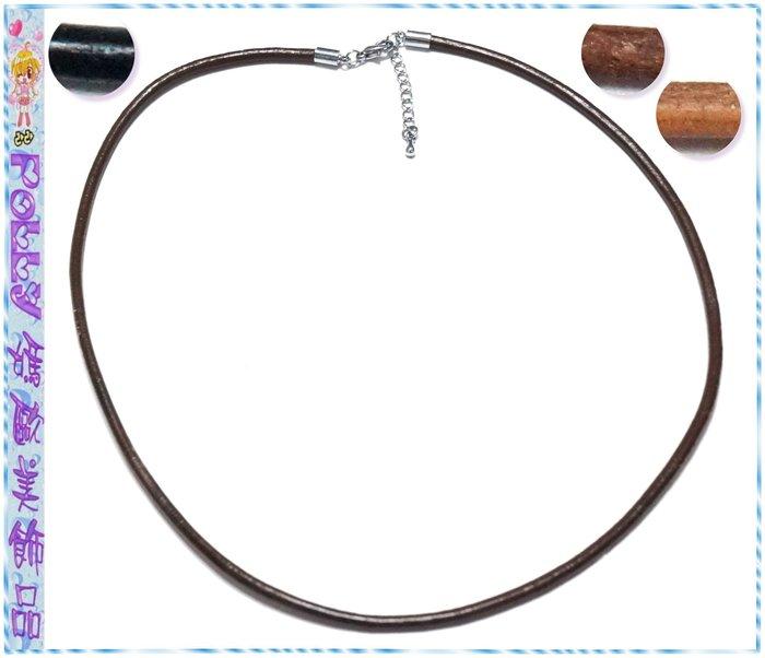 ☆POLLY媽☆歐美進口㊚㊛可用牛皮繩短項鍊~黑色、咖啡色、駝色