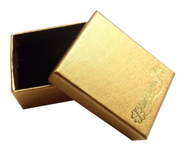 ☆創意小物店☆幸運草飾品盒/戒指盒/項鍊盒/耳環盒/禮品盒(金色/6.3*4.7*2.8cm)/一個