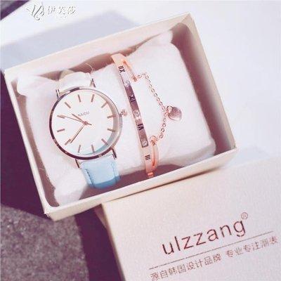 【蘑菇小隊】手錶女學生韓版簡約潮流ulzzang時尚休閒百搭皮帶漸變色石英女錶-MG32524