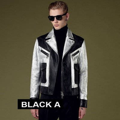 【BLACK A】獨家精品 韓國空運Dsquared2 明星同款 真皮牛皮拼接羊皮 黑色x銀色雙色撞色翻領騎士外套皮衣