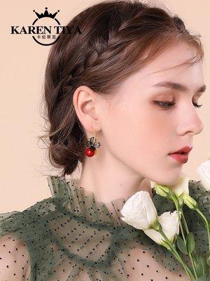 韓國Baby~925銀針烈焰紅耳墜女 氣質韓國個性百搭清新淑女短款耳環耳飾