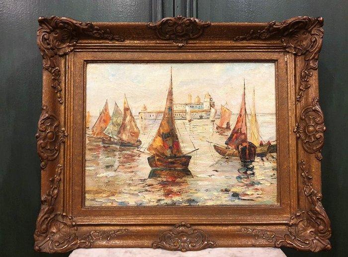 【卡卡頌 歐洲古董】⛵法國老件 ~ 全手繪 簽名 印象 帆船 風景 老油畫   pa0337 ✬