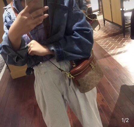 NaNa代購 COACH 31728 新款女士化妝包 水桶包 復古拼色 時尚潮流 迷你桶包 附購證 買即送禮