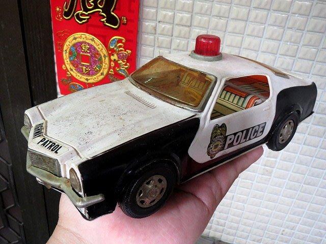 【 金王記拍寶網 】Z211   早期台灣製 老塑料鐵皮 電動警車  無測試功能  (正老品) 古董級 罕見稀少珍貴