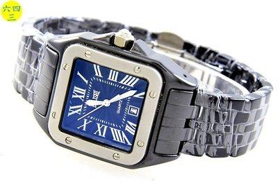 (六四三精品)高級方型坦克型陶瓷錶殼及錶帶(高硬度).時尚流行精準錶...中性