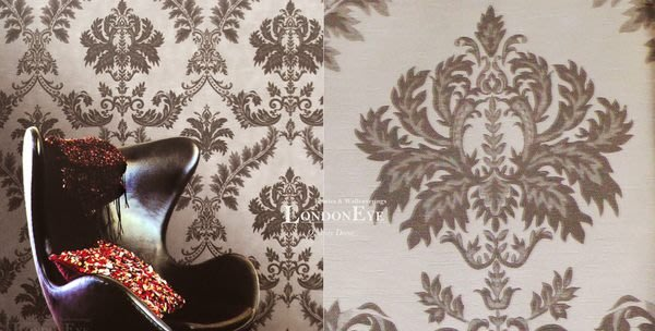 【LondonEYE】奢華璀璨COLOR系列 • 施華洛世奇水鑽 • 巴洛克大馬士革壁紙 •灰色調/黃