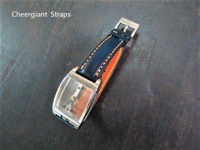 崑崙金橋的深藍色牛皮錶帶 Corum golden bridge navy blue leather strap MIT