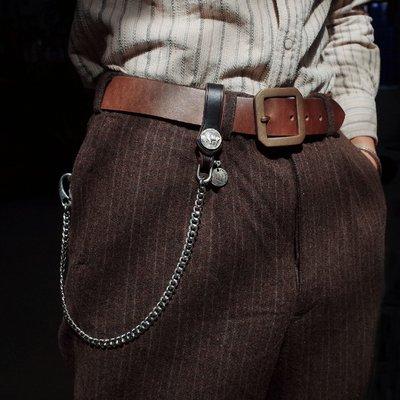 拓荒者革製所。Studio莫桑比克硬幣扣改造不銹鋼銀手工財布鏈褲鏈 美式復古阿美咔嘰重機真皮鏈子褲鏈