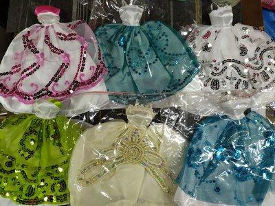 $28/1件 ~ 全新適合正版barbie公仔穿著人手製作市場難求, 釘珠片晚裝 低胸長裙 party裙