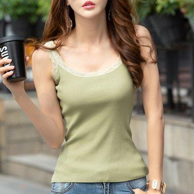 工字背心大尺碼吊帶女內搭夏季新品短背心外穿美背蕾絲花邊薄款針織打底衫