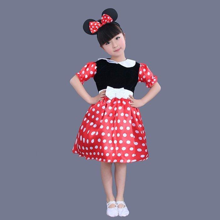 艾莉小舖 萬聖節平安夜 新款特價女童米妮裙表演服裝 花童米奇演出服裝 (有髮圈)