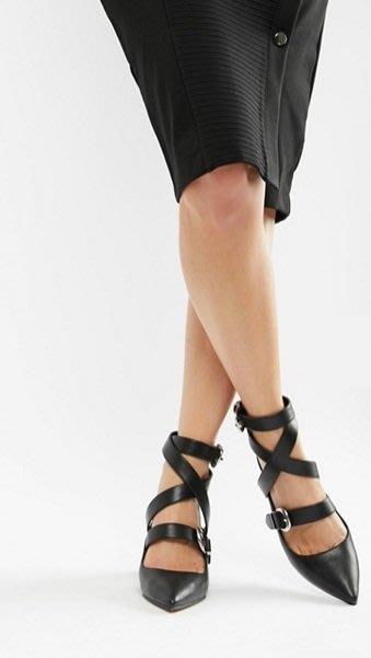 ◎美國代買◎ASOS金屬扣交錯皮帶裝飾鞋面搭配粗高跟復古英倫時尚交錯皮帶尖頭高跟鞋~歐美街風~大尺碼