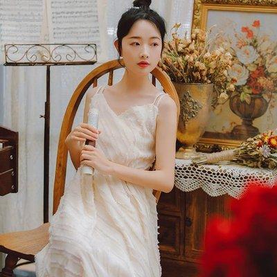 【免運】洋裝 連身裙 長洋裝2019夏季新款很仙的法國小眾小清新仙女超仙甜美吊帶連衣裙長裙子
