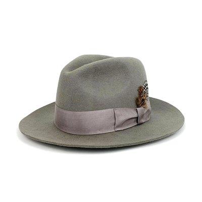 ☆Yango Wu☆ 紳士帽-大帽沿三凹款 灰色/亮灰緞帶款 紳士帽 羽毛  編號:006230