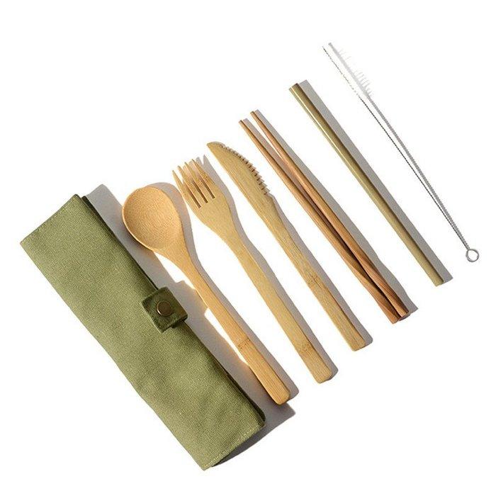 6PCS竹製餐具 套裝 20CM環保露營餐具 遠足野餐旅行刀叉勺帶收納袋步步高升&價格以咨詢客服後為準