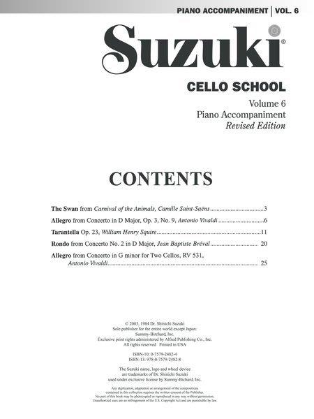 599免運費suzuki Cello School Vol6 鈴木大提琴 第六冊鋼琴伴奏 Ap0271s Yahoo奇摩拍賣