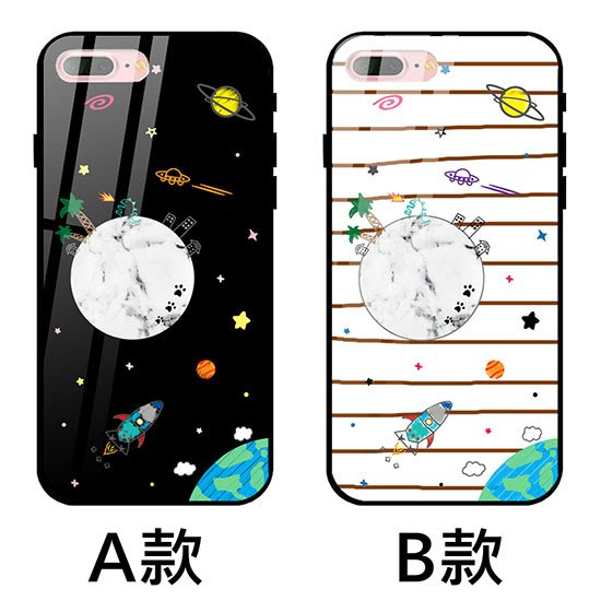 K&M 幻想月亮宇宙 玻璃殼 IPHONE X XS MAX IPHONE8 IPHONE7 IPHONE6 手機殼