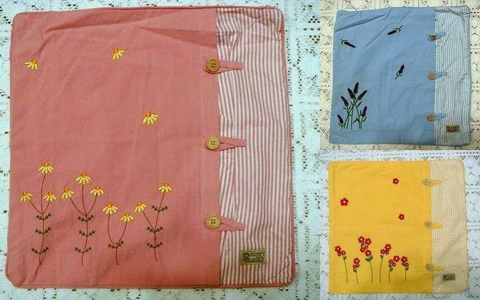 ~蘇菲亞精品傢飾~粉紅色/藍色/鵝黃色日式刺繡抱枕套/特價促銷品