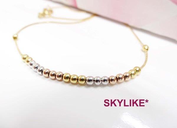 *SKYLIKE* 義大利進口白K金585/14K黃k金、白k金、玫瑰金三色K金動珠珠珠項鍊,義大利新貨到k