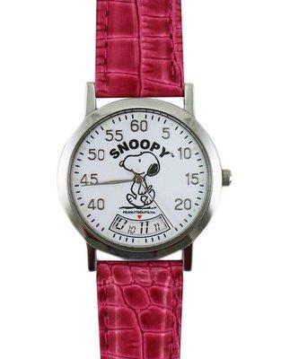 【卡漫迷】 Snoopy 手錶 旋轉時針 ㊣版 皮革 紅色  史努比 女錶 兒童錶 卡通錶 史奴比