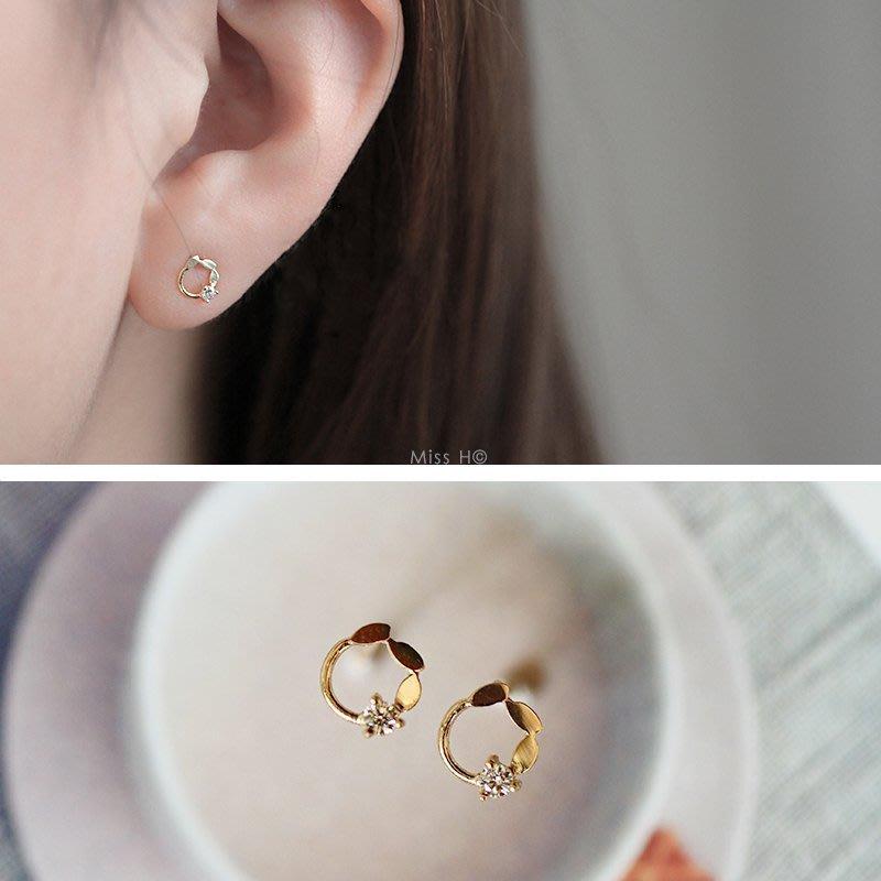 LA MIMOSA韓國正品 純14K黃金。圓圈橄欖桂冠鑲鋯石迷你耳環 裡外全真金 永不褪色