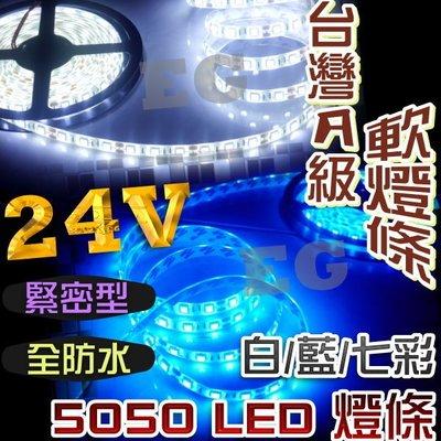 現貨 G7F24 24V專用 5050 LED 台灣A級 緊密型5公尺300顆軟燈條(防水) 室內燈 白光 藍光 全彩