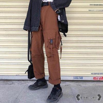 工裝褲 新款寬鬆女學生潮流休閒怪味少女風直筒長褲子潮 -全館免運