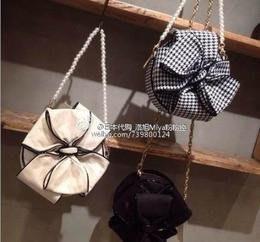 日本品牌 Snidel 格子蝴蝶結手提肩背兩用包,全新,出清中。