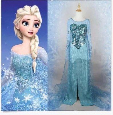 崴崴安兒童館--冰雪奇緣大女孩連身裙coplay 藍色愛莎安娜裙子動畫裙子 let it go