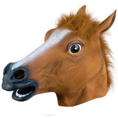 現貨馬頭面具動物頭套馬面具天然環保乳膠面具舞會COS魔鬼節馬頭面具化妝舞會酒吧惡搞化妝舞派對遊行運動會尾牙表演新年遊行