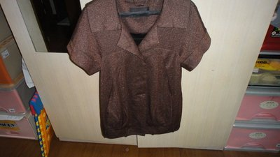I..PENNA專饋短袖棉質外套咖(XL)專饋品牌肩17胸18長26.5.袖4(房櫃1)9%毛料