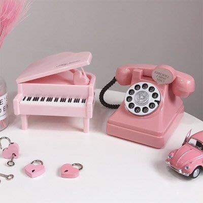 現貨/少女心放映室仿真電話/鋼琴存錢罐可愛儲蓄罐裝飾擺件生日禮物19SP5RL/ 最低促銷價