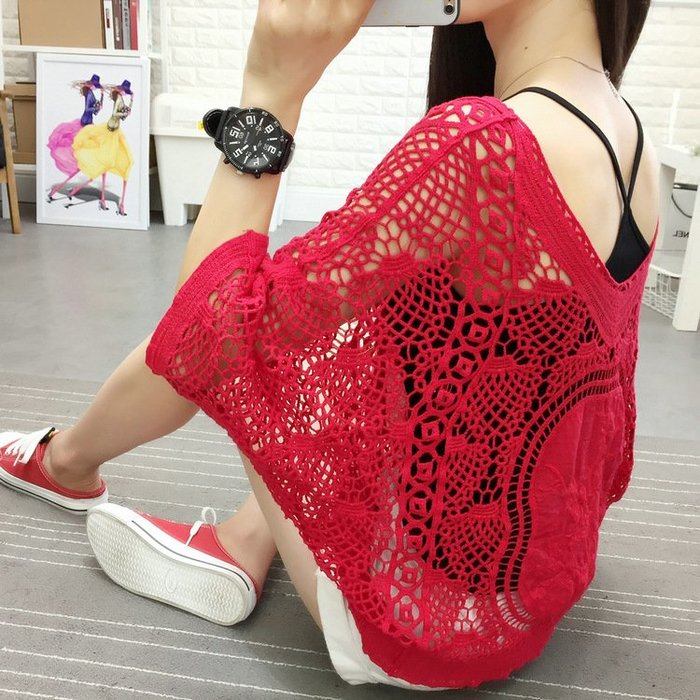 ☆Candy Box☆寬鬆抅花摟空罩衫薄款短袖吊帶針織兩件套蕾絲衫上衣 紅 Z2323009