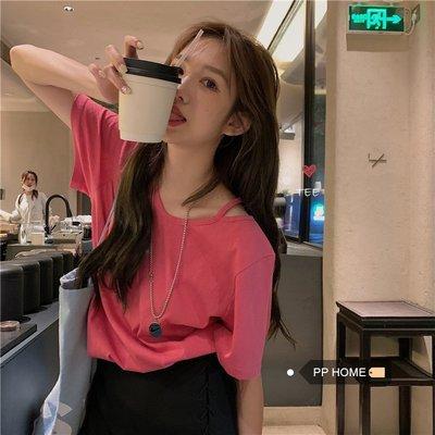 寶島小甜甜~PPHOME甜甜莓果TEE~韓系學院少女夏季露肩小心機吊帶玫粉短袖T恤