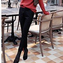 『 筱涵 日系美學衣飾 』冬日暖升級!御寒 紅邊撞色設計開叉褲口內里加絨黑色小腳褲靴褲