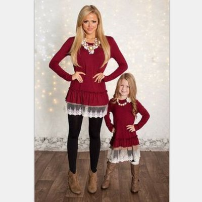寶島小甜甜~Spring bubble edge parent-child outfit dress lace dress