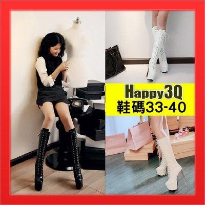 高跟細跟長靴過膝靴SHOW GIRL車展模特兒工作靴長靴百搭綁帶靴-杏/白/黑33-40【AAA3486】
