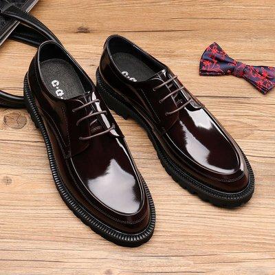 【KeepHK港流】耐磨橡膠厚底真皮男鞋 時尚新款辦公鞋青年英倫尖頭商務休閑皮鞋